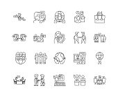 Business ethics line icons, linear signs, vector set, outline concept illustration