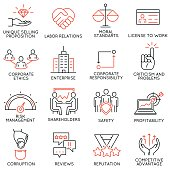 Vector set of 16 icons related to business ethics, management, strategy and development. Mono line pictograms and infographics design elements - part 1