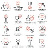 Vector set of 16 icons related to business ethics, organizational behavior in the workplace and workplace incivility. Mono line pictograms and infographics design elements - part 2
