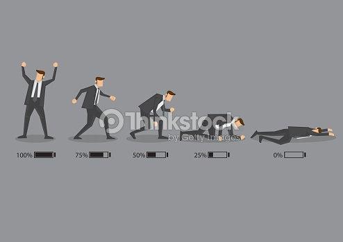 Business Executive and His Energy Level Concept Vector Cartoon I : stock vector