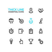 Business, finance symbols - set of modern vector thick line design icons and pictograms. Male, handshake, targeting, quill, stopwatch, mug, clipboard, rocket, bulb pointing hand cup cogs