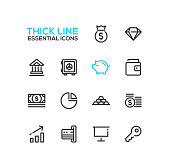 Business, finance symbols - set of modern vector thick line design icons and pictograms. Money bag, diamond, bank, vault, piggy bank, wallet, dollar bill, pie chart, credit card, presentation, key