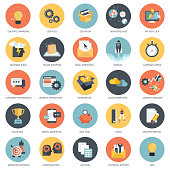 Business, finances and technology icon set. Flat vector illustration
