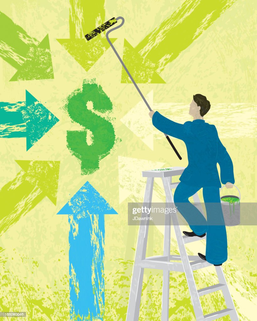 Business financial concept painting dollar sign and arrows : Vector Art