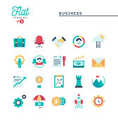 Business, flat icons set, vector illustration