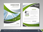 Front and back page brochure template. Flyer design, leaflet cover for business  presentations, magazine covers, posters, booklets, banners. EPS10. Contains transparent objects