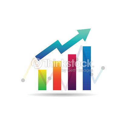 Business Graph Icon In Trendy Colorful Flat Style On White