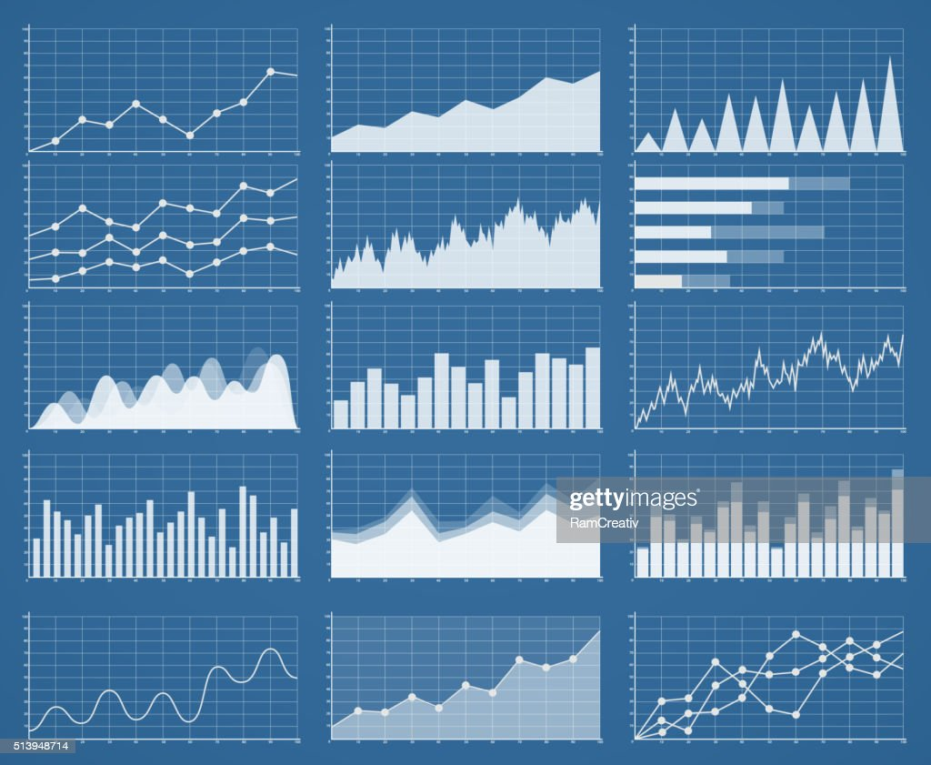 Business graphics and charts set. Analysis and management