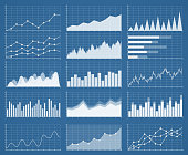 Business graphics and charts set. Analysis and management of financial assets. Information on charts, statistical data. Growth and falling on Information graphics infographics.