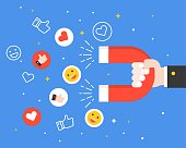 Business hand carrying magnet and smiley faces, like symbol and heart icon, reach engagement in social network, flat design business digital marketing concept