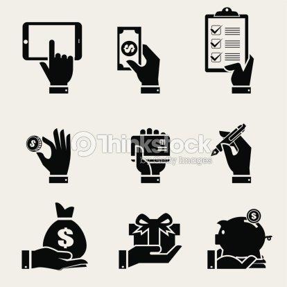 Mão De Negócios Com Ícones De Objeto Definido arte