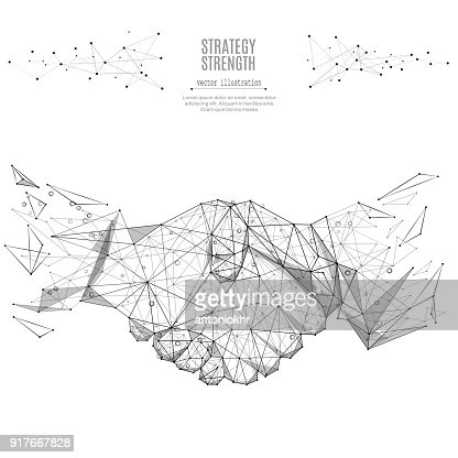 Business handshake low poly black on white : stock vector
