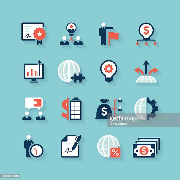 Business Icon Set | Aqua Series