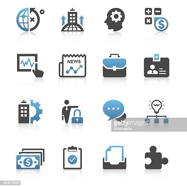 Set di icone di affari serie/azzurro