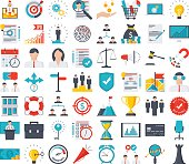 Vector set of 56 flat web icons for business.