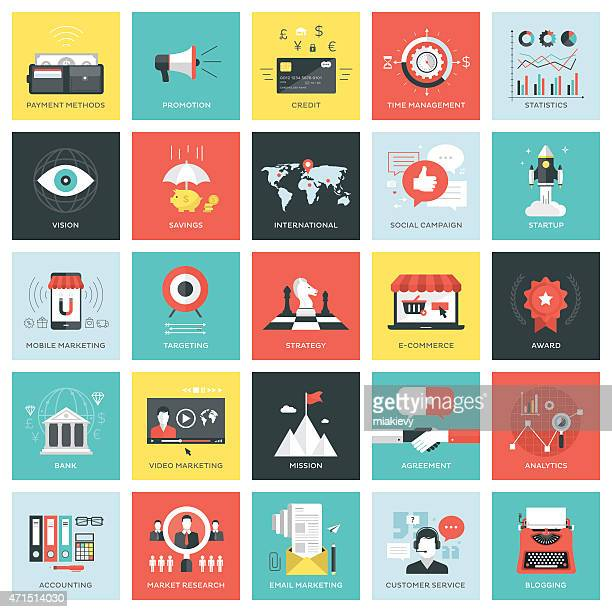 Business icons squares