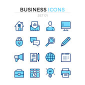 Business icons. Vector line icons set. Premium quality. Simple thin line design. Stroke, linear style. Modern outline symbols, pictograms