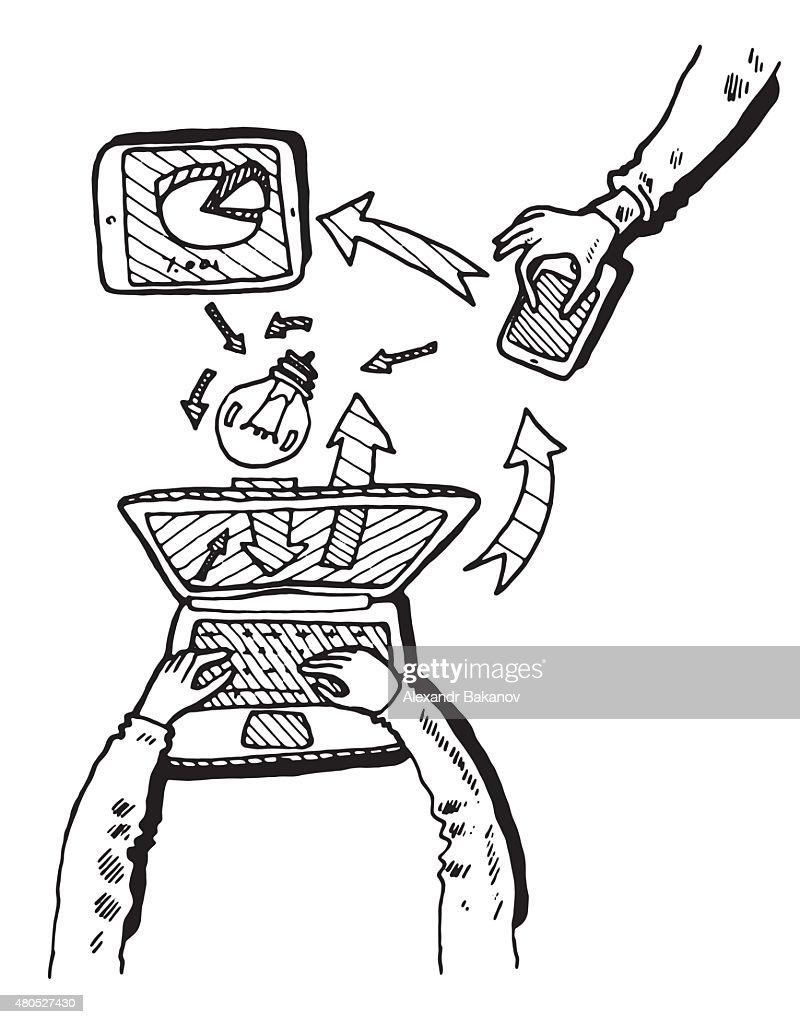 Business Idea concept doodles icons set sketch : Vector Art