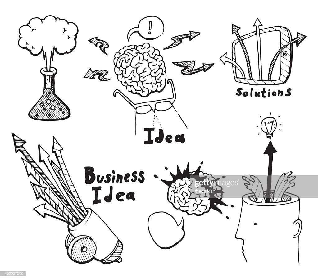 Business Idea concept doodles icons set sketch : Vektorgrafik