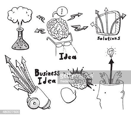 Business Idea concept doodles icons set sketch : Vector Art