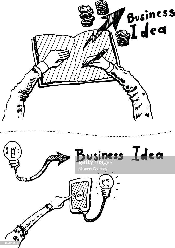 Business Idea concept doodles icons set sketch : Vektorgrafik