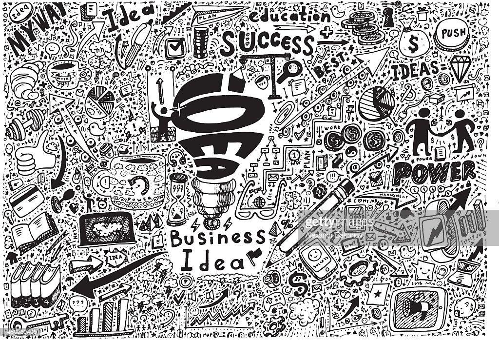 Business Idea high detailed doodles icons sketch : Vektorgrafik