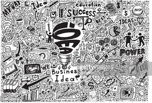 Business Idea high detailed doodles icons sketch : Vector Art