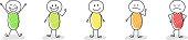 Business image concept - cartoon stickmen showing facial expressions. Vector.