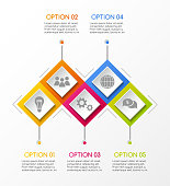 Business infograph with rhombus icons - concept of template. Vector.