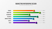 Business infographic presentation vector 3D colorful balls illustration.  Corporate marketing analytics report horizontal bar chart design layout. Statistics information graphic visualization template