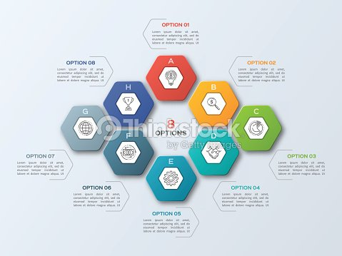 business infographic template with 8 steps ベクトルアート thinkstock