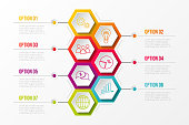 Business infographic with hexagonal icons. Vector.