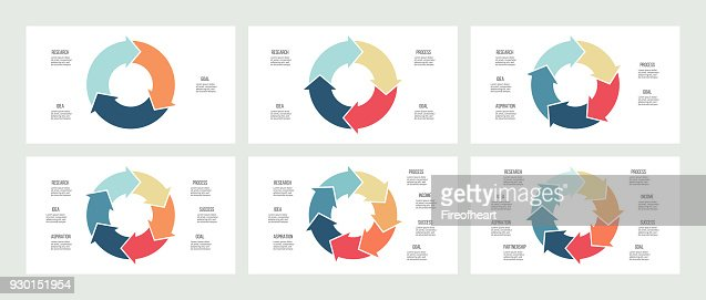 Business infographics. Circles with 3, 4, 5, 6, 7, 8 steps, arrows. Vector templates. : stock vector