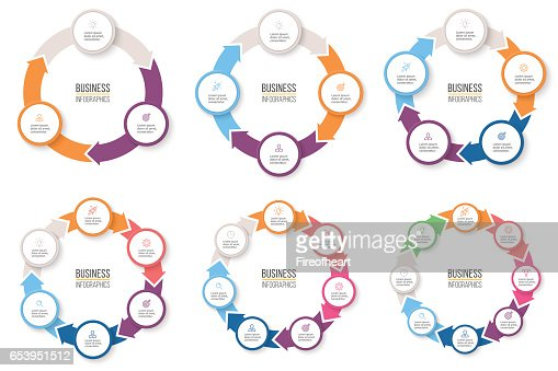 Business infographics. Circular arrows with 3-8 steps, options. Vector pie charts. : stock vector