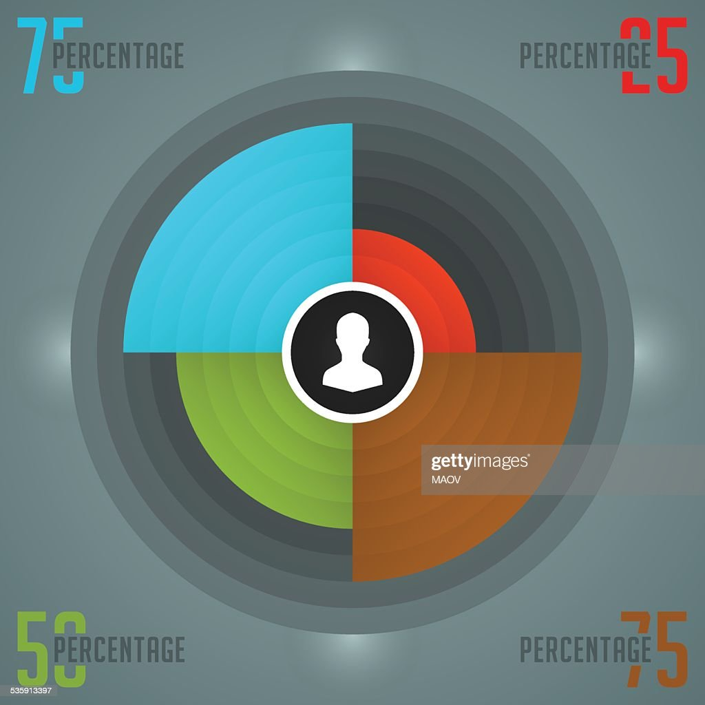 Business Infographics Design Template. Vector Elements. Color Pie Chart Illustration : Vector Art