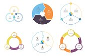 Business infographics. Diagrams with 3 steps, options. Vector pie charts.