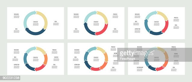 Business infographics. Pie charts with 3, 4, 5, 6, 7, 8 sections. Vector templates. : stock vector