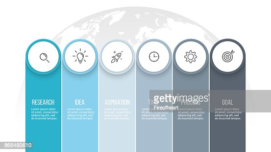 Business infographics. Presentation with 6 columns, options. Vector template. : stock vector