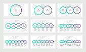Business infographics. Presentations with 1, 2, 3, 4, 5, 6, 7, 8, 9 circles, options. Vector templates.