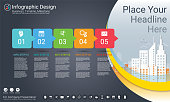 Business infographics template, Milestone timeline or Road map with Process flowchart 5 options, Strategic plan to define company values, Scheduling in project management to make facts and statistics.