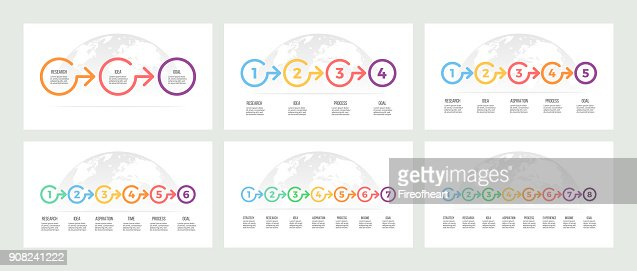 Business infographics. Timeline with 3, 4, 5, 6, 7, 8 steps, options. Vector template. : stock vector