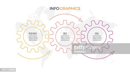 Business infographics. Timeline with 3 steps, gears. : stock vector