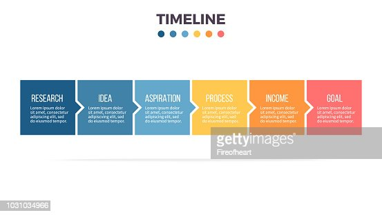 Business infographics. Timeline with 6 steps, options, squares. Vector template. : stock vector