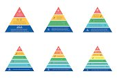 Business infographics. Triangle, pyramid with 3, 4, 5, 6, 7, 8 steps, levels. Vector templates.