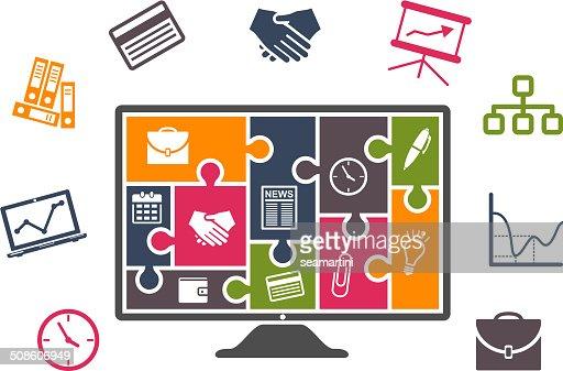 Con coloridos iconos de infografías de negocios : Arte vectorial