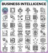 Business intelligence(BI) concept line icon style for ui, ux, website, web, app graphic design