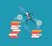 Business leader reaching success vector illustration graphic design