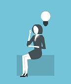businesswoman thinking about big idea vector illustration graphic design