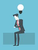 businessman thinking about big idea vector illustration graphic design