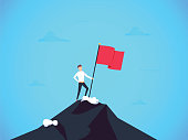 Business leader vector concept with businessman planting flag on top of mountain. Symbol of success, achievement victory, top career and leadership. Eps10 vector illustration. Top manager talent